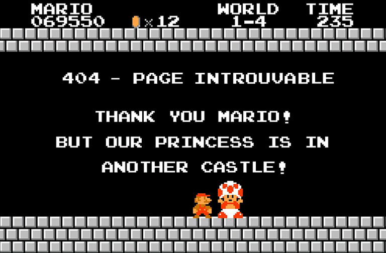 Mario erreur 404 page introuvable
