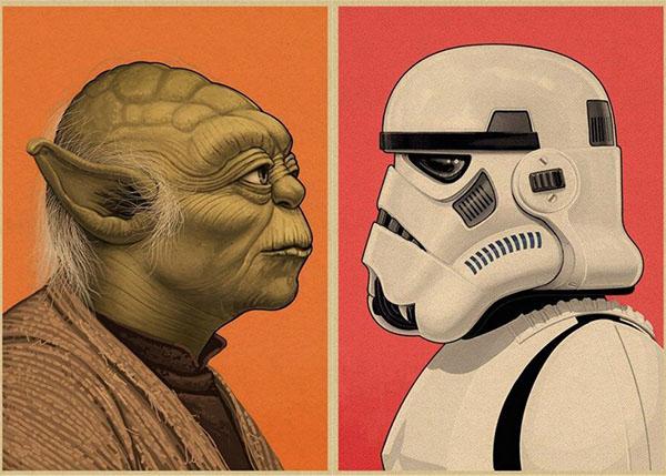 Portrait Yoda et Stormtrooper
